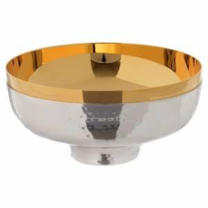 Calici Pissidi Patene metallo: Patena offertoriale ottone cesellata a mano argentata dorata