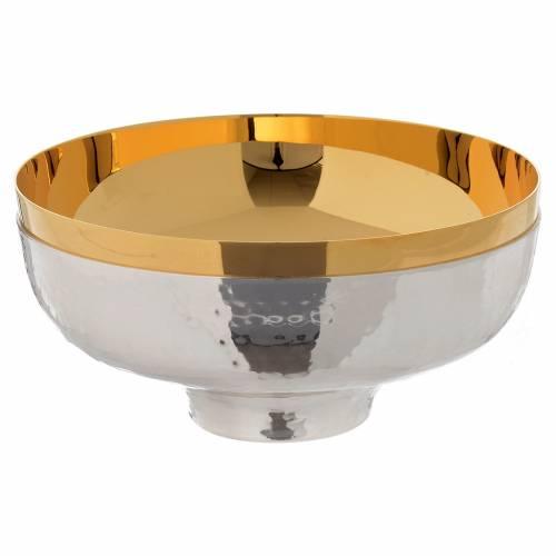 Patena offertoriale ottone cesellata a mano argentata dorata s1