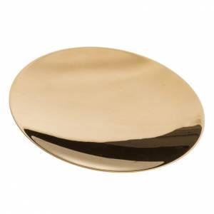 Patène laiton doré lisse gravée 15cm s2