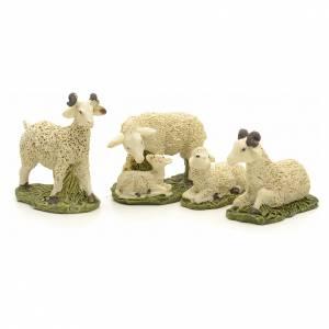 Animali presepe: Pecore in resina presepe 10 cm set 4 pz