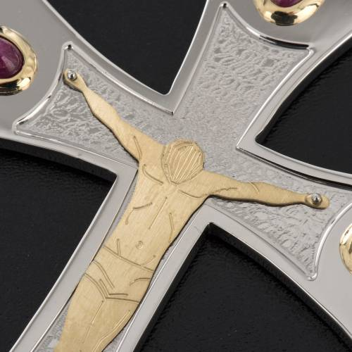 Pectoral cross in sterling silver, 18Kt gold, rubies s5