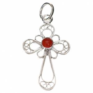Pendant cross in 800 silver filigree with coral s1