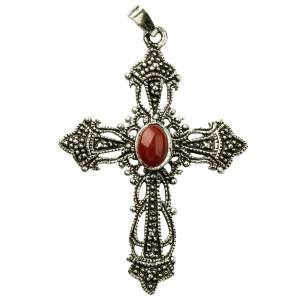 Pendant cross in bronzed silver and coral s1