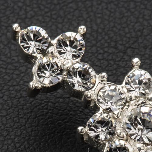 Pendant cross in silver and rhinestone 3,5 x 4,5 cm s4