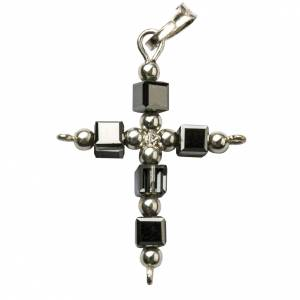 Pendant cross in silver with cubic hematite beads s1