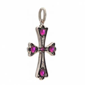 Pendant cross in sterling silver with red stones s2