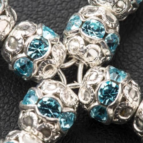 Pendant cross, sky blue Swarovski diam. 0,24in with split pins s3