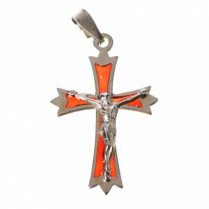 Pendant crucifix in 800 silver and red enamel s1