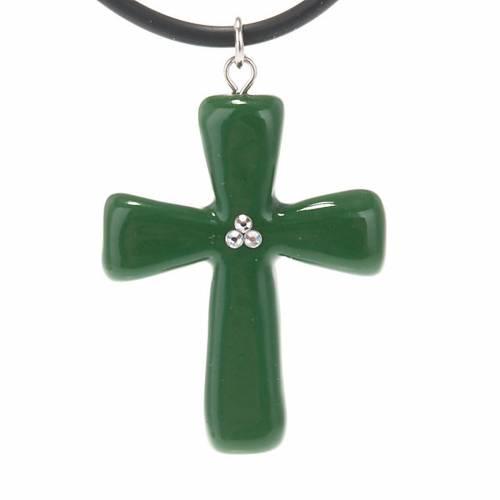 Croce verde con Swarovski s1