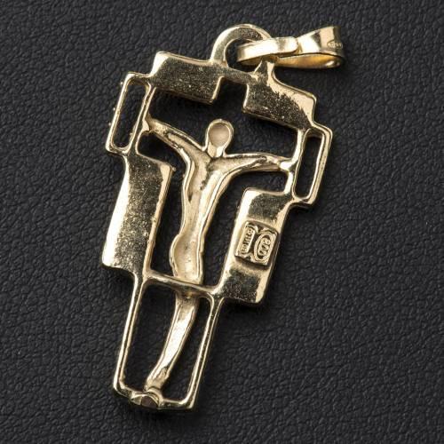 Pendente croce moderna dorato s3