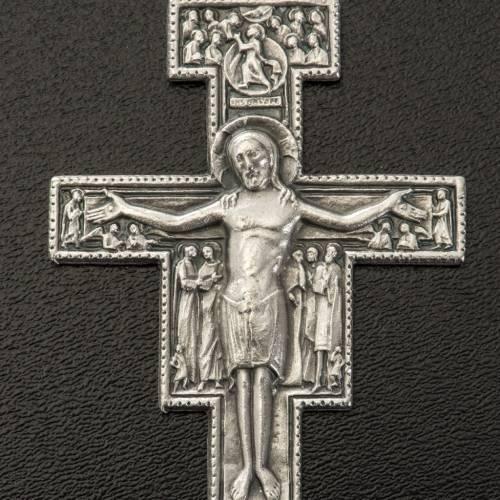 Pendente croce San Damiano metallo argentato h 5,8 cm s2