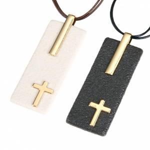 Pendentifs croix céramique: Pendentif en gres et porcelaine rectangulaire