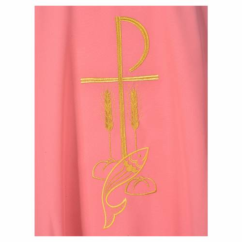Pink Chasuble in polyester with Chi Rho and Loaves and Bread s5