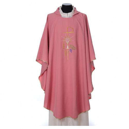 Pink Chasuble in wool and lurex with Chi-Rho, monstrance, wheat s1