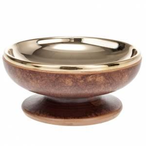 Calici Pissidi Patene ceramica: Pisside ceramica ottone dorato color cuoio