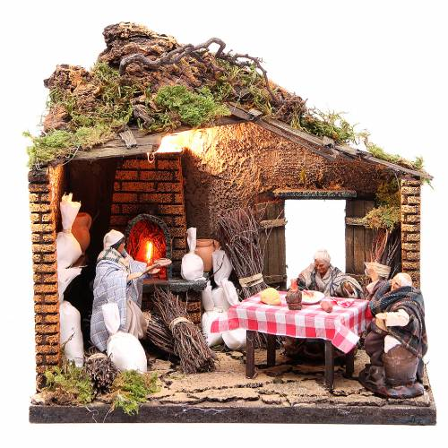 Pizzeria scene with 3 characters, animated for Neapolitan Nativity, 12cm s1