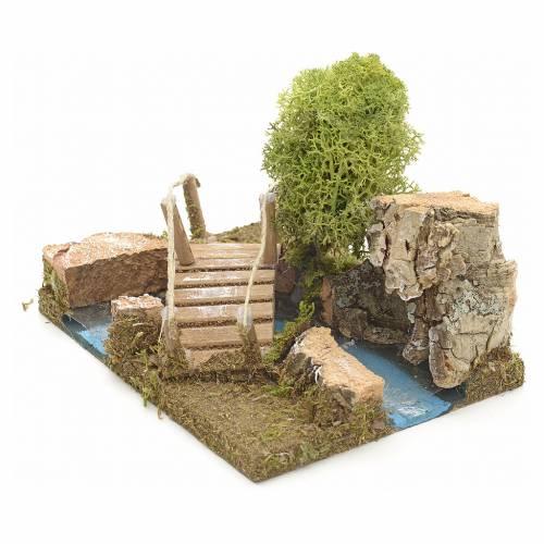 Pont en miniature avec lichen et roche en liège s2
