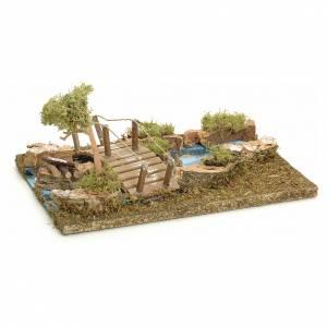 Ponts, ruisseaux, palissades pour crèche: Pont sur îlot de rivière pour crèche