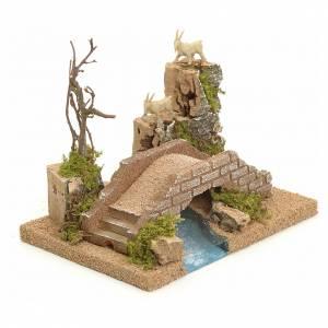 Ponts, ruisseaux, palissades pour crèche: Pont sur rivière pour crèche avec chèvres