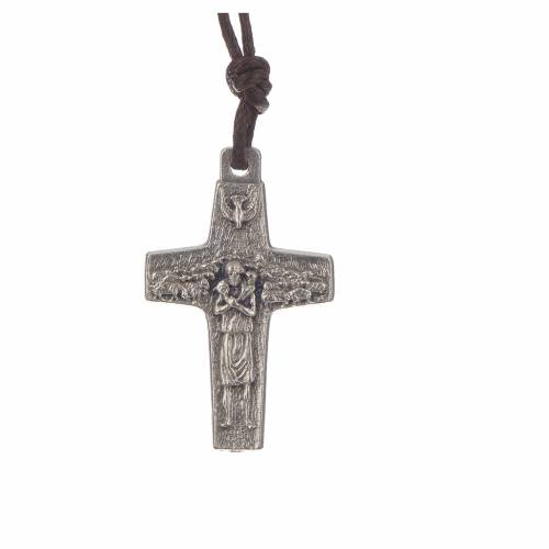 Pope Francis cross necklace metal 2.8x1.8cm with twine s1