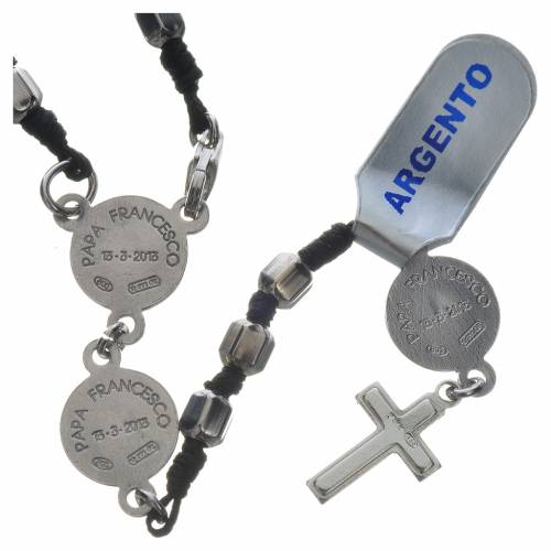 Pope Francis rosary in 800 silver, hexagonal grains s2