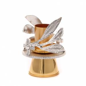 Candelieri metallo: Portacandela bronzo argentato dorato foglie