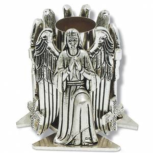 Candelieri metallo: Portacandela bronzo argentato angelo in preghiera