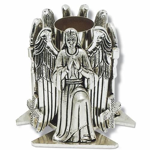 Portacandela bronzo argentato angelo in preghiera s1