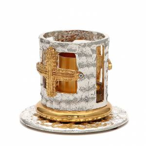 Portacandela bronzo argentato dorato croci decorate s2