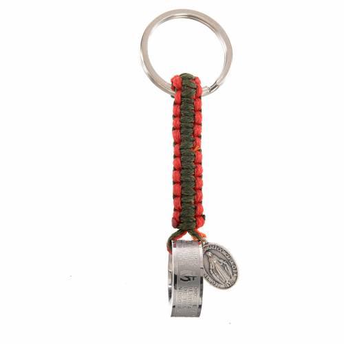 Portachiavi anello Ave Maria SPA corda verde rosso s1