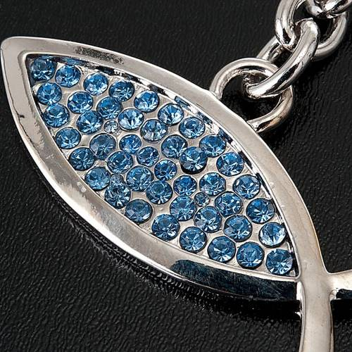 Portachiavi metallo pesce blu 2