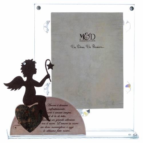 Portafoto vetro con angelo e frase rosa 14,5x15 cm s1
