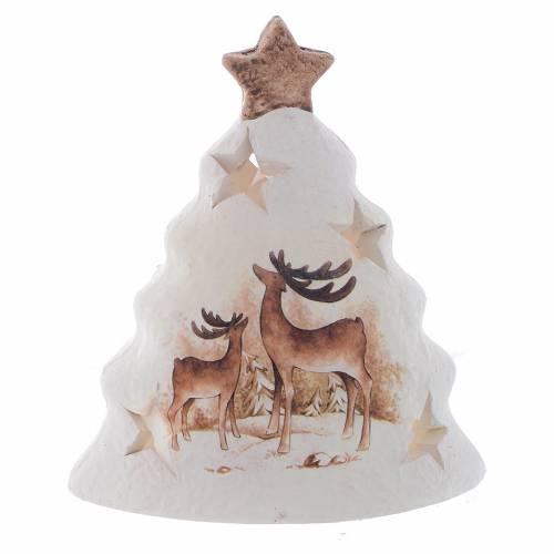 Portavela de Navidad en forma de árbol con renos s1
