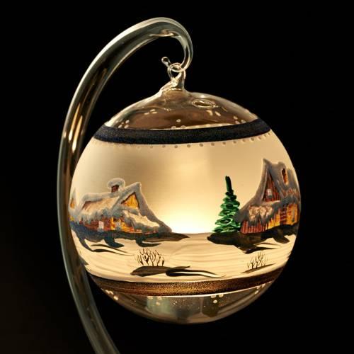 Porte bougie de Noel blanche en verre soufflé paysage s4