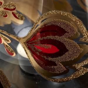 Porte bougie de Noel en verre décorations dorées s3