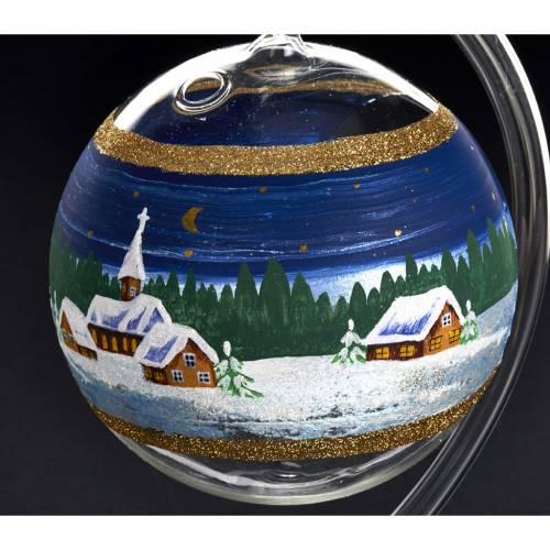 Porte bougie de Noel en verre soufflé paysage nuit s3