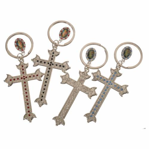 Porte-clé croix métal et strass s3