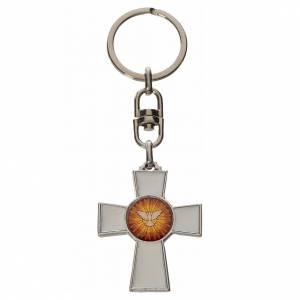Porte-clés: Porte-clé croix Saint Esprit zamac émail blanc