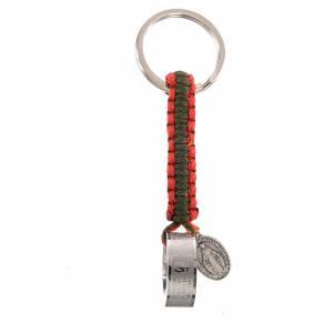 Porte-clef bague Je Vous Salue Marie ESP cordon vert rouge s1