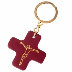 Porte-clés: Porte-clefs en cuir, croix carrée, St Antoine de Padova