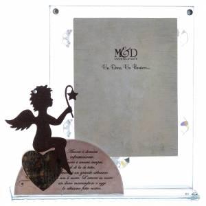 Bonbonnières: Porte-photo verre avec ange et phrase ITA rose 14,5x15 cm