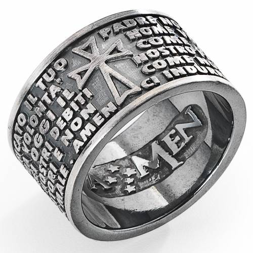 Prayer ring AMEN, Our Father, in steel s1