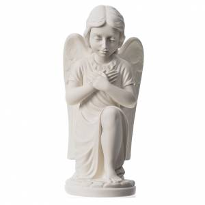 Reconstituted marble religious statues: Praying angel, right, in reconstituted white Carrara marble 13,3