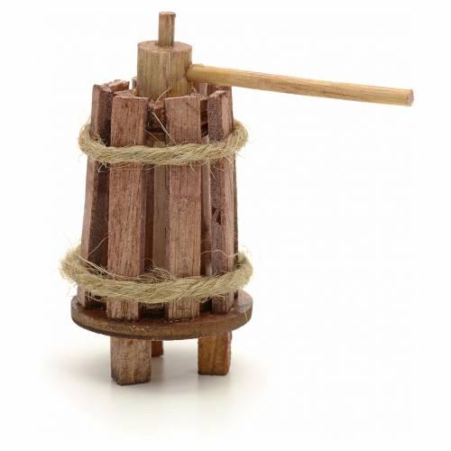 Pressoir bois en miniature pour crèche 3 cm s1