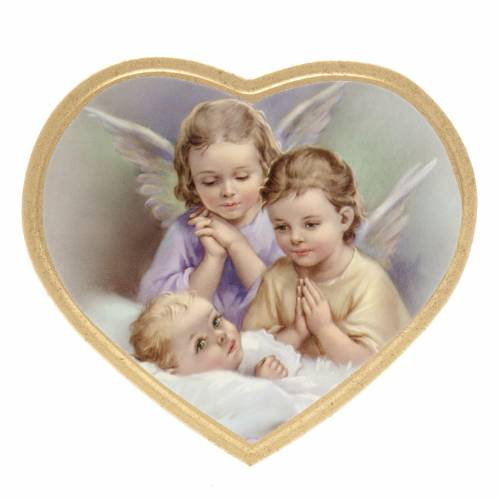 Print on wood, heart, 2 angels with baby s1
