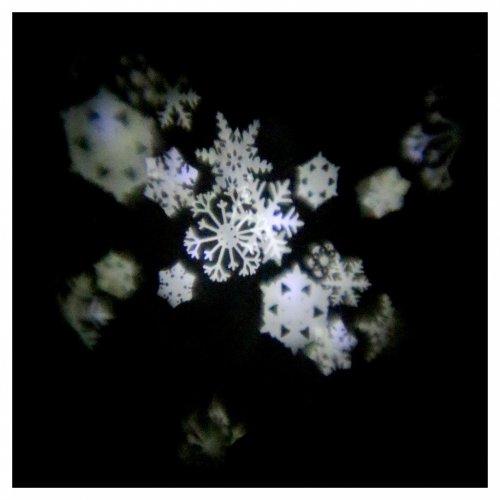 Proiettore 4 led bianchi fiocchi neve a batterie s1