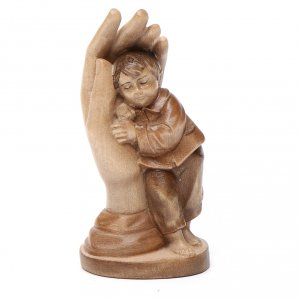 Natural wood statues and figures: Protective hand with young boy in multi-patinated Valgardena woo