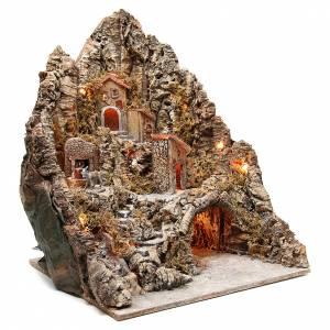 Pueblo iluminado con cueva y río para belén napolitano 68x64x56 cm s3