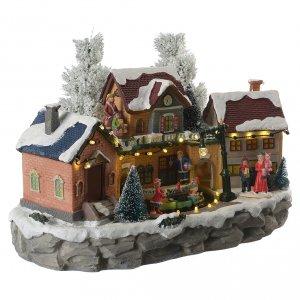 Pueblo Navideño en miniatura invernal con trenecito en movimiento s3