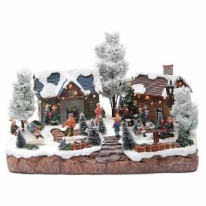 Pueblos navideños en miniatura: Pueblo Navideño musical juevos 35x25x25 cm